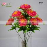 9 heads artificial lalic flower bush with tray real like and cheap