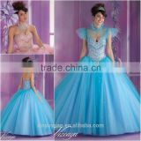 Hot Selling Classic Western style Ball gown dress patterns Blue and Pink Quinceanera Gowns with Jacket CYQ-011