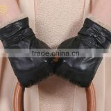 Ladies high fashion leather gloves for beauty hand with warm wool lining