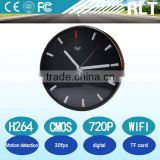 H.264 720P WIFI Wireless Wall Clock Hidden Camera with TF card remote control /digital cmos clock spy camera