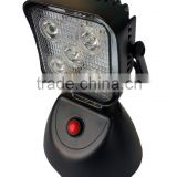 "3.7"" 15W battery DC or car charge portable brightnees adjustable rechargeable magent inspection camping LED work light"