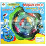 Wind up Electric B/O Magnetic Fishing Game,Plastic Toy Fish Light and Music