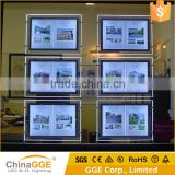 Acrylic Illuminated LED Cable Suspended Real Estate LED Window Display Light Pockets Slim LED Light Box