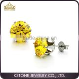 KSTONE 2015 New Arrival Fashion 316l stainless steel yellow color zircon crystal stud earring