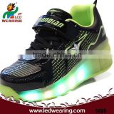 FASHION walking shoes type and rubber outsole material led flash roller skate shoes light