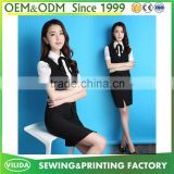New design office lady dress suit high quality short sleeves blouse ,vest and skirt suit
