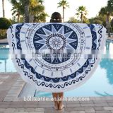 China wholesale mandala roundie towel 100% cotton round beach towels with tassels fringe