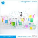 Taiwan Manufacturer High Quality Tumbler Lotion Dispenser Cotton Jar Soap Dish Acrylic Bathroom Supplies