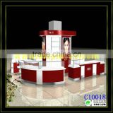 High-end appearance cosmetic display showcase cosmetice kiosk finished by shine baking paint for sale