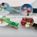 Cute snowman and deer cartoon image hair accessories metal alligator hair clip best selling festival mini hair clip
