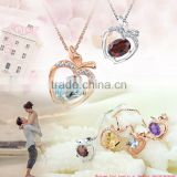 Hot fashion apple shaped crystal necklace pendant, sterling silver jewelry wholesale rhinestone jewelry