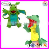 A199 ICTI Audits Factory Made Green Dinosaur Hand Puppet Set Kids Learning Puppet Theater