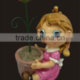 2014 new products cute cartoon girl sitting with flower pot outdoor clay pots garden pot