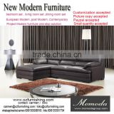 JR6001 elegant chic contemporary brown cow leather L shape living room luxury sofa set home furniture cheap sofa factory