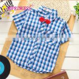 2015 cheap hot summer comfortable 100% cotton short sleeve kids checks t shirts for baby boy