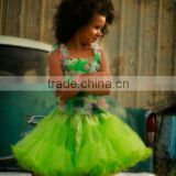 Newest halloween tutu petti skirt costumes green trim ruffle nylon chiffon dress for baby party dance dress