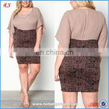 Dongguan hot sell women dresses for plus size dress designs fat women tribal chiffon dress with necklace