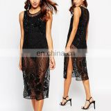 2016 New Design Embroidered Side Split Two-piece Sexy See Through Bling Bling Cocktail Dress