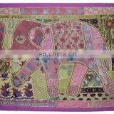 Indian Hand Elephant Wall Hanging Tapestry Embroidered Patch Sequins Patchwork table runner Tapestry Decorative Ethnic art
