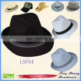 LSF55 Ningbo Lingshang Factory low Price plain color Manufacturers vintage fedora hats