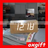 OXGIFT Luminous silent electronic Office desk decoration Fashion Led Wooden Alarm clock - Rectangle