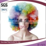Rainbow color football fan afro twist wigs blue