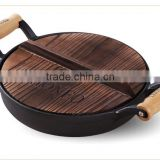 Round two wooden handles cast iron pre-seasoned frying pan non-stick cast iron cookware set
