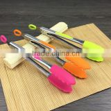"Custom different colors 8'' & 9"" Salad Tongs 12"" Barbecue Tongs - Stainless Steel Food Tongs serving tongs with Silicone Tips"