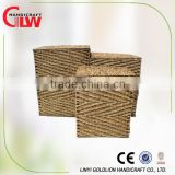 S/3 rectangular seagrass hampers , seagrass belly basket, Round nice cloth liner seagrass laundry hamper