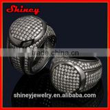 2014 high quality factory design luxury white cz with black gold plating big ring
