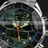 Brand New mens man analog digital alarm blue face stainless steel sport quartz watch