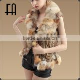 Factory direct wholesale price lady's rabbit fur knitted waistcoat with fox fur trim