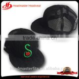 Custom embroidery black knitted crochet printed flat underbrim mesh trucker snapback cap