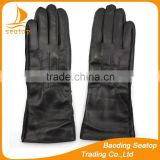 2016 high quality fashion black long leather gloves women leather gloves with wholesale price