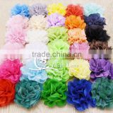 Large Chiffon Lace Flowers- petal lace flower - fabric flower with lace centre- solid lace fabric flower