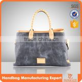 5144 Vintage Washed denim style tote handbag latest lady bags PU collection Woman trendy style.