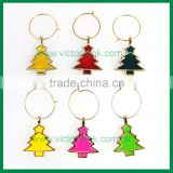 Colorful Christmas Tree Wine Charms Set