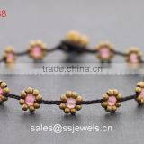 Cute Fine Gift Flower Bracelets For Fashion Girls With Smart Pink Quartz Beades Handmade Thailand Brass Bell Jewelry Wholesale