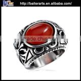 Elegant titanium men's antique big red diamond rings,316L stainless steel big stone ring designs