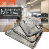 Unique shading rose rectangle desgin stainless steel food tray/serving tray for fruit&vegetable