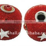 Handmade Indonesia Beads, with Brass Core, Round, Red, about 16x14mm, hole: 3mm(IPDL-A010-26)