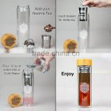 Mochic High Quality 500ML Double Wall Insulated Glass Water Bottles With Bamboo Lid and Tea Infuser BPA free