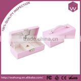 Fancy Pink Leather Jewelry Box For Girls/ Long Craft Pearl Jewel Case For Sale