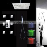 conceal led rainfall shower set bath shower set with 6 pcs 2 inches body spray jets and thermostatic mixer