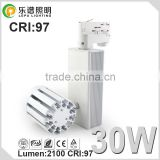 high power 30watt commercial 2700k 5000k COB 0-100% dimming led track spot light with factory price 5years warranty