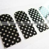 Custom sliver star metallic 2d nail wrap rhinestone nail sticker manufacturer 20 tips/sheet with test EN71-3