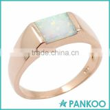Wholesale 925 Sterling Silver Created Blue Opal Band Ring