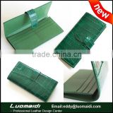 High-end emerald green glossy crocodile leather ladies purse ladies clutch bag,long wallet for ladies from Guangzhou factory