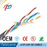 CAT5 Solid Unshielded Twisted Pair Cable , Plenum Rated Cable 350MHz 4PR 24AWG Solid Bare Copper 1000ft Pull Box