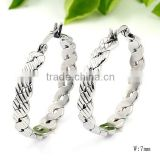 SRE3007 Most Selling Products Silver Open Weave Endless Hoop Earrings Stainless Steel Earrings